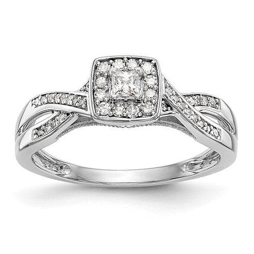 14k Polished White Gold & Diamond 0.29ct Promise Engagement Ring NICE!