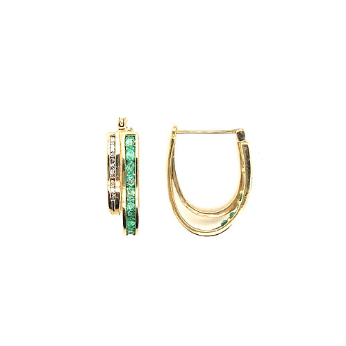 Stunning Women's 14K Gold Diamond and Emerald Earrings
