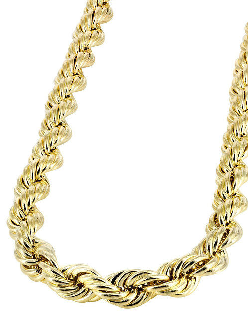 Large Hollow 8mm 10k Handcrafted Gold Rope Chain Measures 27.5""