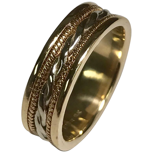 14 K Two Tone Rope Design Wedding Band