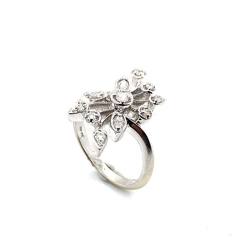 GORGEOUS Handcrafted 14k White Gold and Diamond Ring Beautiful Fancy Piece!