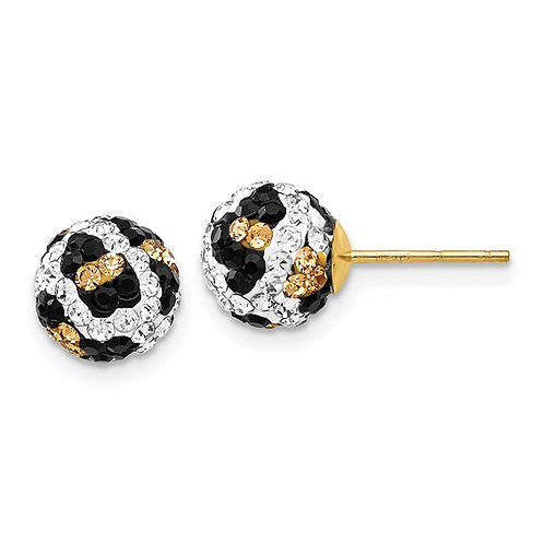 14k Leopard Animal Pattern White Black Yellow Crystal Post Earrings Gorgeous!