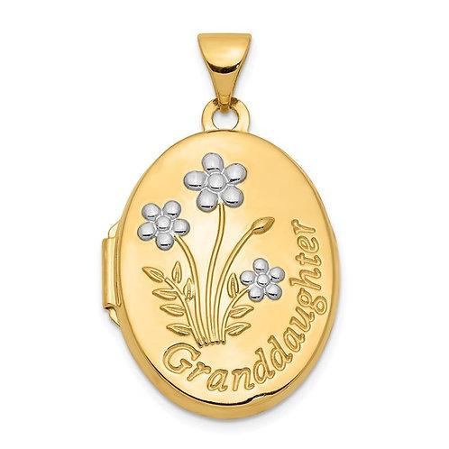 Gorgeous Handcrafted 14k Gold Oval Shape Granddaughter Locket Engraved