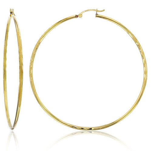 Beautiful Large Handcrafted Solid 10K Yellow Gold Hoop Earrings