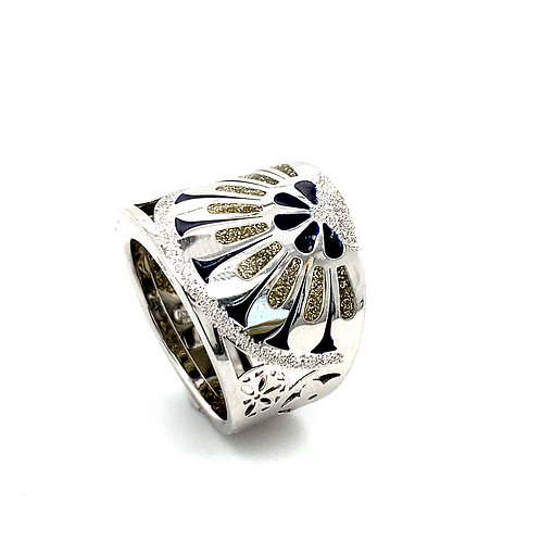 Beautiful Unique Thick Cocktail Statement Ring 14K White Gold