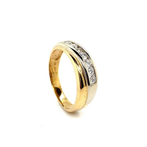 Men's 14K Dual Tone Gold and IGI Certified Diamond Wedding Ring