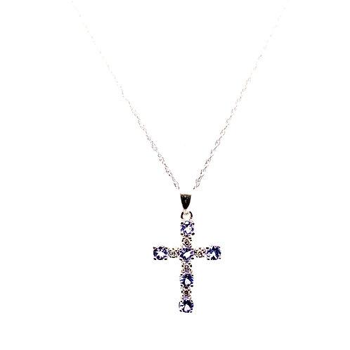 "Gorgeous Purple Tanzanite Cross Pendant & Necklace 18"" 14k White Gold"