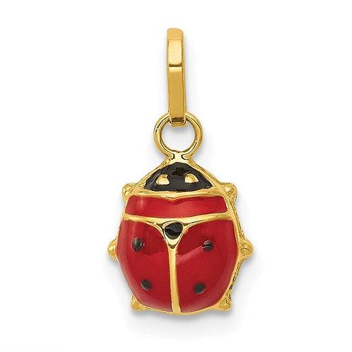 14k Enameled Ladybug Charm Pendant CUTE!
