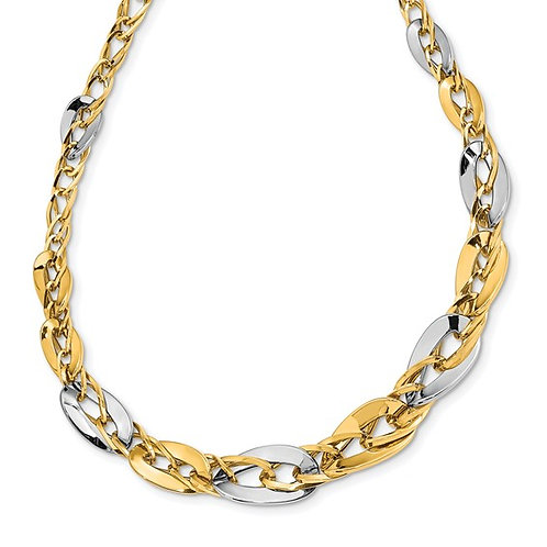 """GORGEOUS! 14k Two Tone Polished Gold Double Curb Link Necklace 13mm 17"""" 12g"""