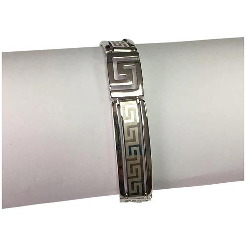 10 K White Gold Greek Key Hinged Bracelet