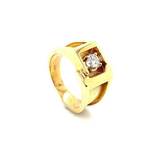 Stunning Men's 14K Solid Gold 0.40 Carats Diamond Ring