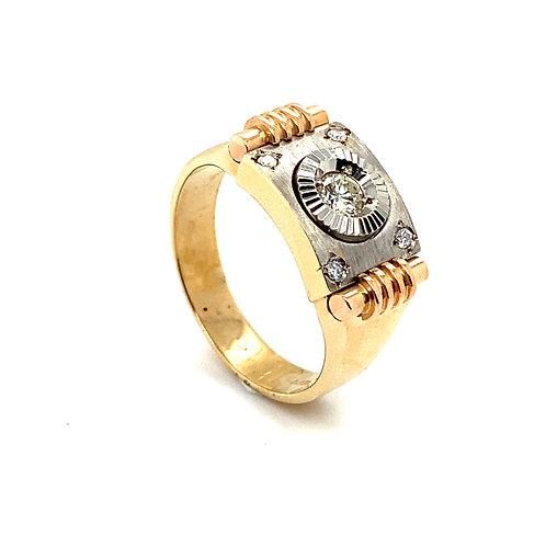 Stunning Men's14K Solid Gold 0.25 Carats Diamond Statement Ring