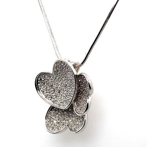BEAUTIFUL! Unique Three Heart Love Diamond Pendant & Snake Chain Necklace
