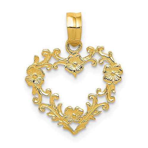 Beautiful Floral Border Heart Pendant Handcrafted 14k Polished Yellow Gold