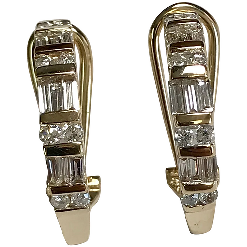 14 K Yellow Gold 0.75 CTW Baguette & Round Diamond Huggie Hoop Earrings