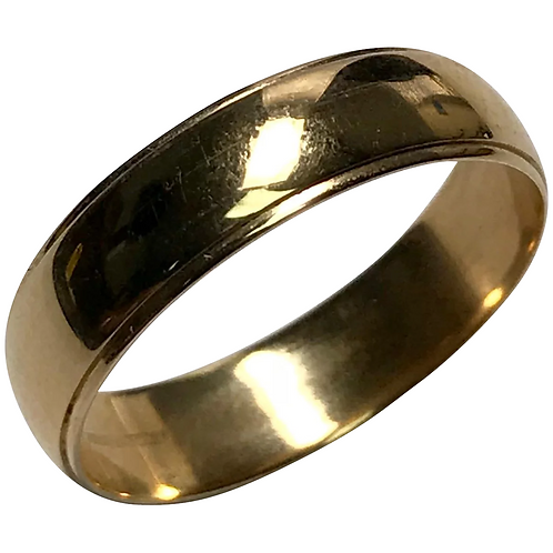 14 K Yellow Gold 5.2 mm Art Carved Wedding Band