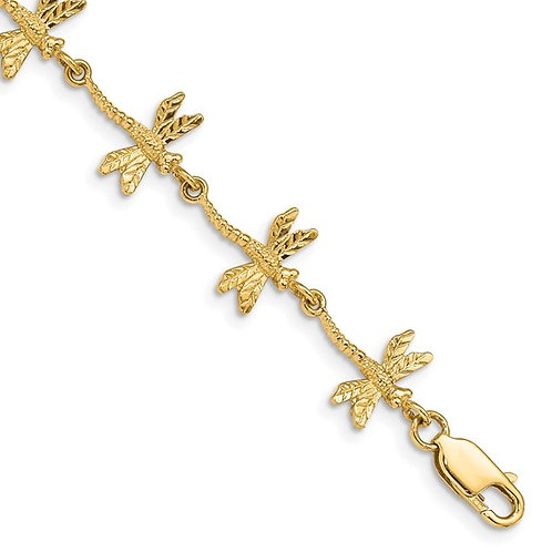 "14k Gold Polished Textured Dragonfly Bracelet Measures 7.5"" 10mm Gorgeous Piece!"