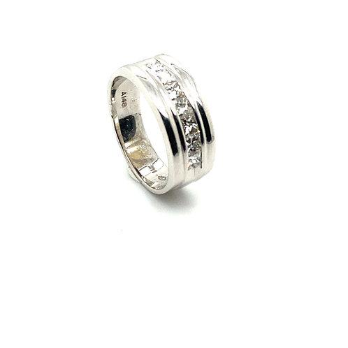 Men's IGI Certified 14K White Gold & Diamond Wedding Ring Band All Sizes
