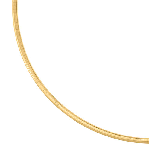 """Handcrafted 14k Yellow Gold Omega Necklace Measures 18"""" 15.7g 3mm GORGEOUS!"""