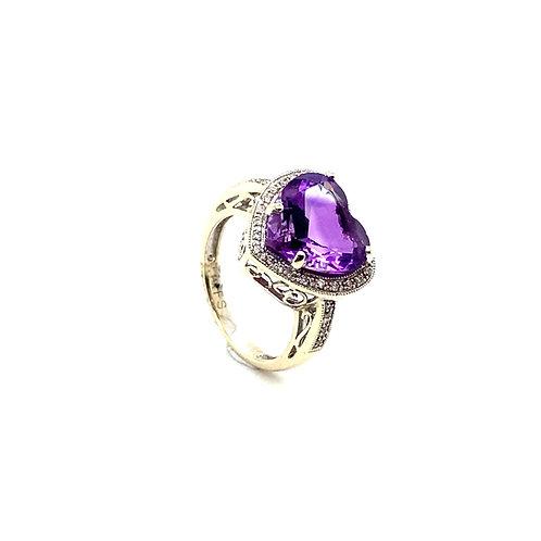 Heart Shaped 14K White Gold 6 Carat Amethyst Diamond Ring