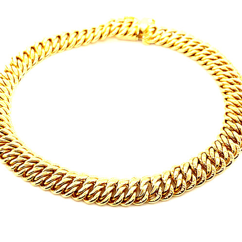 "Fancy Link Handcrafted 14k Yellow Gold Bracelet Measures 8"" Thickness is 9mm"