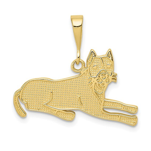 10K Solid Gold Pit Bull Charm Pendant NICE!