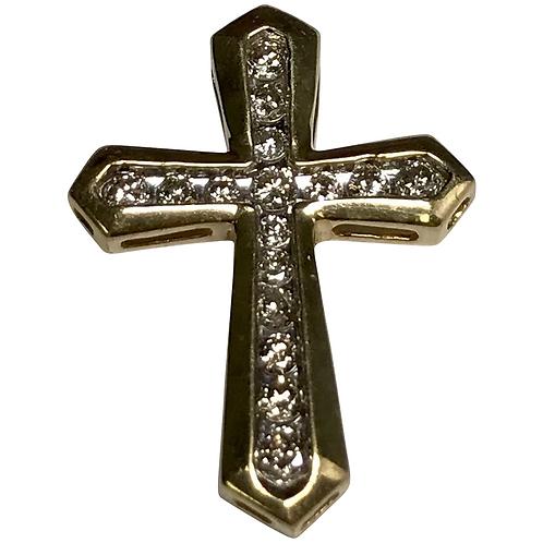 10 K Yellow Gold 0.25 CTW Diamond Cross