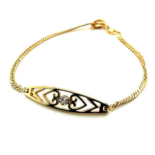 "Elegant Handcrafted Yellow 14K Gold & .10ct Diamond Bracelet Measures 7"""