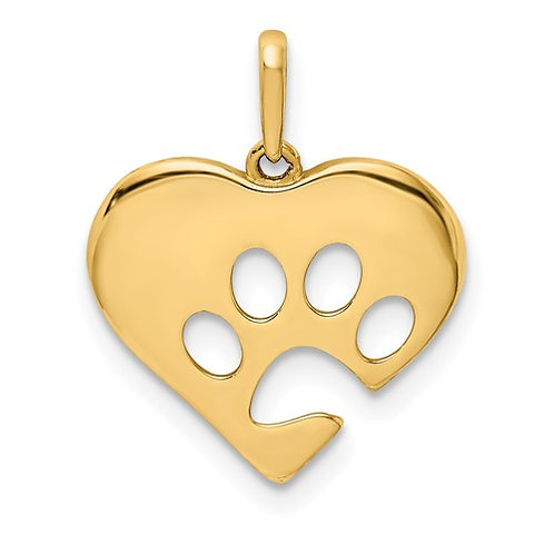 14k Yellow Gold Polished Heart Paw Print Super CUTE!