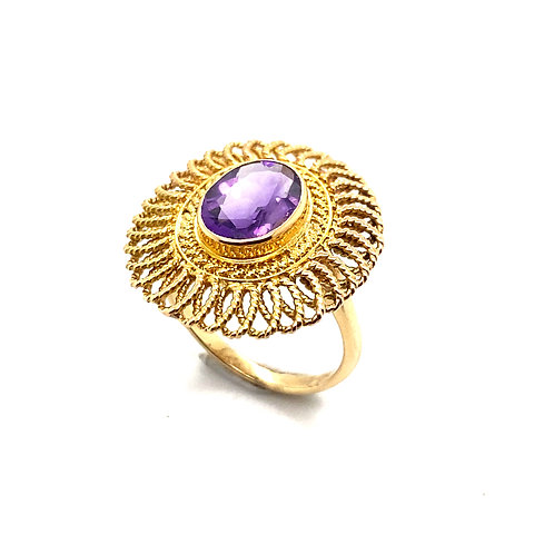 Beautiful Amethyst Set in Handcrafted 18k Yellow Gold Round Super NICE!