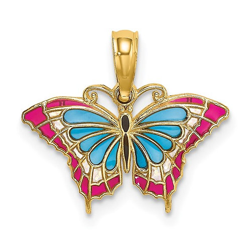 14k Small Enameled Blue & Red Butterfly Charm Pendant Vibrant GORGEOUS Piece!