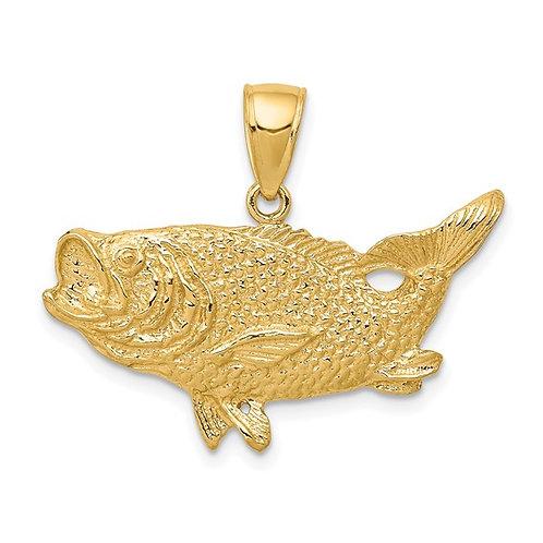 14k Open Backed Bass Fish Pendant