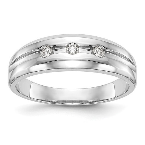 Men's Beautiful Handcrafted 14k White Gold & Diamond Wedding Band