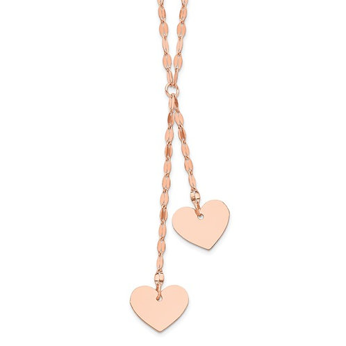 "14k Rose Gold Fancy 2 Dangling Hearts Necklace 17"" w/1"" Ext. Gorgeous Piece!"