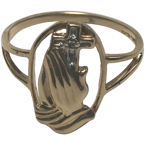 14 k Yellow Gold Praying Hands Ring