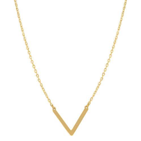 "14k Yellow Gold Polished V Shape Bar Necklace Measures 18"""