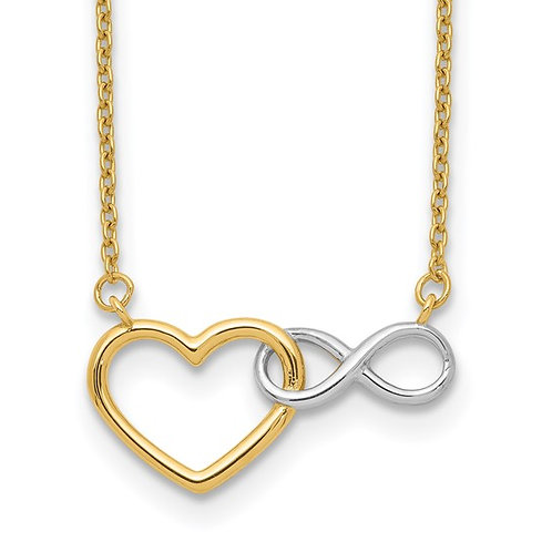 """14k Heart w/Infinity Symbol Necklace Measures 17"""" Thickness is 1.2mm NICE!"""