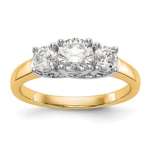 14K Two Tone Gold 3 Stone Diamond Engagement Ring
