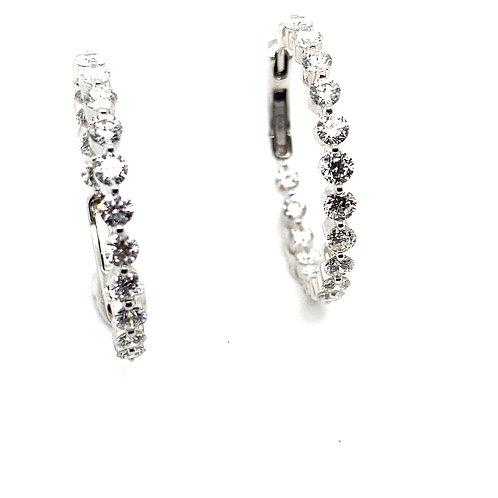 Beautiful Ladies Certified 3ct Diamond & 18k White Gold Hoop Earrings