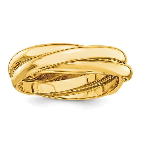 Beautiful Swirling Twisted Polished Rolling 14K Yellow Gold Ring 6mm