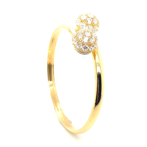 Beautiful 14K Gold and Accent Stones Bangle Bracelet