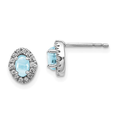 14k White Gold Diamond & Aquamarine Earrings Absolutely GORGEOUS!