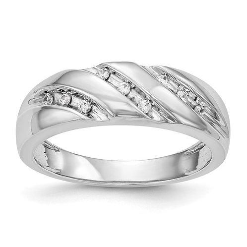 Men's 14k White Gold & Diamond Solid Wedding Band NICE!