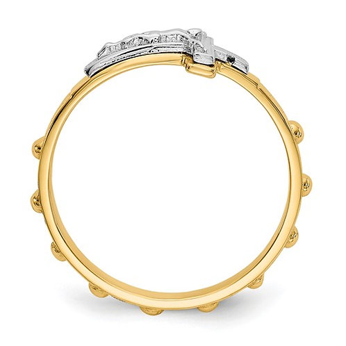 Absolutely Beautiful Unique 14k Two Tone Crucifix Rosery Ring Super