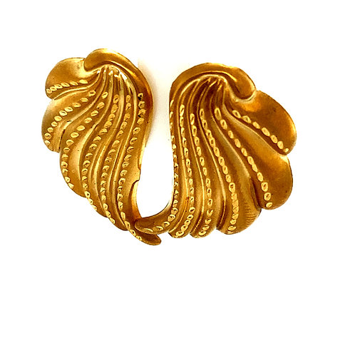 Beautiful Diamond Cut Satin Finish Handcrafted 14k Angel Wings Swirl Design