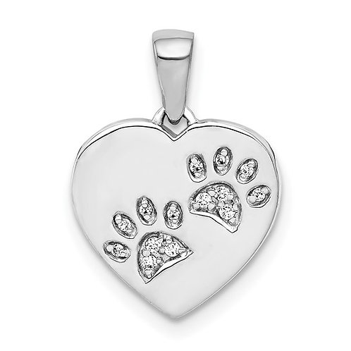 Gorgeous! 14k White Gold & Diamond Heart Paw Prints
