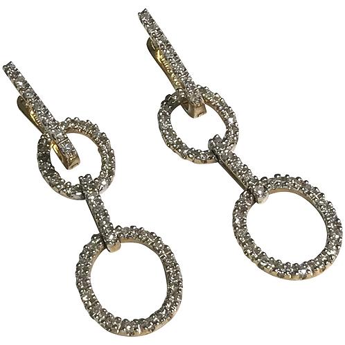 14K Yellow Gold Pierced 1.00 CTW Diamond Earrings