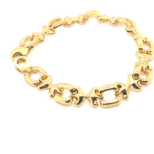Thick 10mm Fancy Puffy Link Bracelet 14k Handcrafted Gold