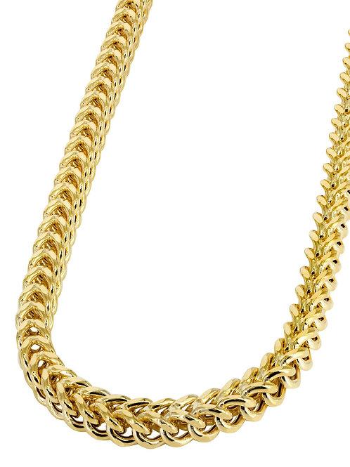 "Solid Franco Handcrafted 10k Yellow Gold Chain Necklace Measures 30"" 8mm"