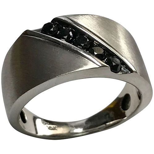 14 K White Gold 0.50 CTW Black Diamond Band